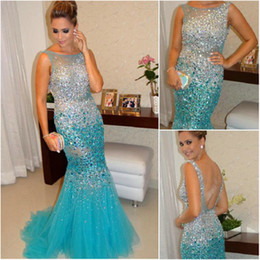 Barato Comprar Vestido Azul Royal-Glamorous Sleeveless Beadings Crystals Prom Dresses 2017 Mermaid Tulle Party Vestidos Prata e Azul Long Evening Gowns comprar-direto da China