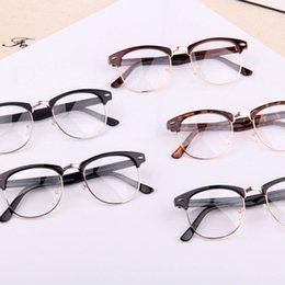 8dc29b02f2 Классический Ретро Прозрачные Линзы Nerd Frames Очки Модный бренд дизайнер  Мужчины Женщины Очки Старинные Полу Металлические Очки Кадр