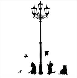 $enCountryForm.capitalKeyWord Canada - Popular Ancient Lamp Cats and Birds Wall Sticker Wall Mural Home Decor Room Kids Decals Wallpaper TT164