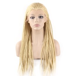 Micro Braided Wigs UK - 613 Blond Kanekalon Braiding Hair Wig Full Long Micro Braided Synthetic Lace Front wigs For White Fashion Women