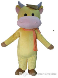 Custom Made Scarves Canada - SX0724 Custom made a yellow cattle mascot costume with an orange scarf for adult to wear