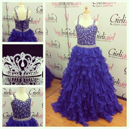ball gowns girl size 12 Canada - 2016 Girls Pageant Dresses Royal Blue Size with Lace Up and Ruffled Skirt Real Pictures Layers Chiffon Little Girls Party Gowns Custom Made