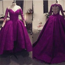Barato Barato Roxo Mau Vestido Baixo-Purple Lace High Low Prom Vestidos 2016 Long Sleeve Cheap Ocasião Especial Vestidos Scoop Neck Alta Qualidade Custom Made