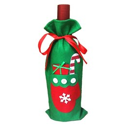 Best Gift For Xmas Australia - 100pcs Wine Bottle Bags Christmas Decorations Gift Merry Christmas Bar Tools Best Gift for Xmas Bar Red Wine Bottle Cover Bags