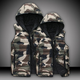 e2d3f804cfb25 2016 Winter Men and Women Couple Cotton Vest Fashion Slim Sleeveless Cotton Coat  Camouflage Hooded Jacket