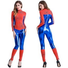 Wholesale heroine costumes for sale - Group buy 2016 cosplay anime heroines Halloween costume spider man conjoined tights superman show ds