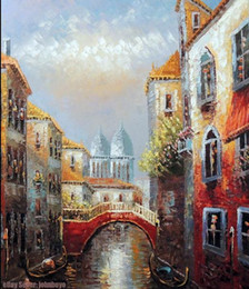 Homes Building NZ - Venice Italy Canal Homes Bridge Gondola Boat,Handicrafts Scenery & Building Art oil painting On High Quality Canvas size can be customized