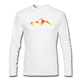 mountain tees NZ - Simple style men's casual t-shirt new season mens long sleeve tee shirt original design tshirts abstract mountain sunset logo