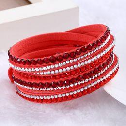 $enCountryForm.capitalKeyWord NZ - Sparkling Crystal Rhinestone Multilayer Wrap Bracelets Slake Deluxe Leather Wrap Wristband Cuff Bangles for Women 16 Colors