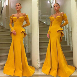 DetaileD trumpet prom Dress online shopping - MNM Couture Amazing Ruffles Detail Long Sleeve Evening Dresses Yellow Sweetheart Full length Sexy Mermaid Dubai Arabic Prom Party Gowns