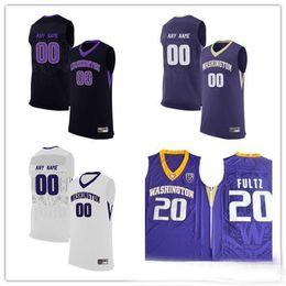 Purple Black Basketball Jersey Canada - Custom Mens Washington Huskies  College Basketball white black purple Personalized a70256356
