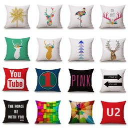 $enCountryForm.capitalKeyWord Canada - Wholesale Nordic Style Deer Elephant Animal Custom Cushion Covers 36 Styles Geometric Road Sign Pillow Cases Youtube Logo Pillows 45X45cm