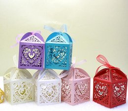 baby shower candy Canada - 100pcs Laser Cut Hollow Heart Flower Candy Box Chocolates Boxes With Ribbon For Wedding Party Baby Shower Favor Gift
