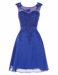 Scalloped Knee Length Dress UK - Blue Cocktail Dresses Cute Women 2019 Knee Length Short Satin prom dress Beading lace Vestidos Plus Size Sexy Women Cocktail Dresses