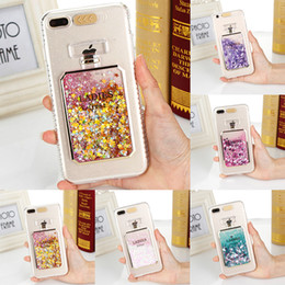 Botellas De Perfume Bling Baratos-Bling Liquid Glitter Ladies Funda para iPhone 6 6s 7 8 Plus capinha Calling LED Flash Encendido para iPhone Caja de botella de perfume