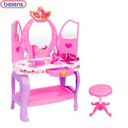 big makeup sets 2019 - Beiens Brand Toys 19 Pcs Children Kids Baby Girl's Cute Lovely Toy Fashion Makeup Chair Make Up Table Set Dresser F