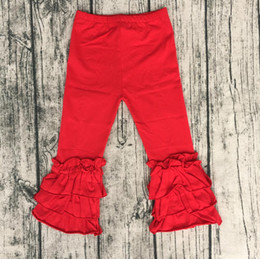 $enCountryForm.capitalKeyWord Canada - Hot sale boutique baby girls red yoga pants fall toddler leggings autumn baby icing ruffle pants kids candy pants
