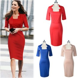 red princess dresses Canada - Online Hot Selling Princess Kate Elegant Bodycon Dresses Red Fashion Square Collar Short Sleeve Knee Length Pencil Dress