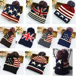 Wholesale British style flag wool hat men and women autumn and winter cute fashion US winter warm ear ear knitting winter hat