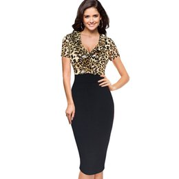 formal office pencil dress NZ - New women v neck short sleeve sexy Leopard charm slim dress work office formal pencil dress black