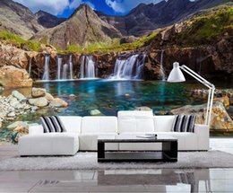 waterfall decorations NZ - Beautiful Landscape Home Improvement Photo Wallpaper Lake waterfall TV wall Decoration Painting Wall paper Mural 3d