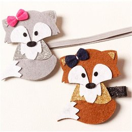 Wholesale New Arrival Animals Cartoon Fox Barrettes Baby Hair Clips Felt Silver Coffee Fox Baby Girls Hairbands Felt Hairbands