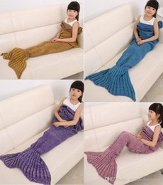 Animal Sleeping Bags Canada - Free shipping Kids size Mermaid Tail blanket Wool Knitted Fish Tail blanket throw bed Wrap super soft sleeping bag 70x140cm with rim