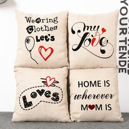 Valentine Pillows Gift Canada - 45cm Valentines Gift Couples Cotton Linen Fabric Waist Pillow 18inch Fashion New Home Gift Coffeehouse Decoration Sofa Car Cushion