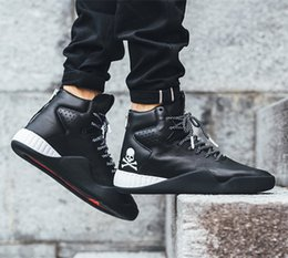Discount black zipper boots mens NEW TUBULAR INSTINCT Hight Top Sneakers MasterMind Japan MMJ Zipper Mens Winter Boots Black Leather Snow Boots for Men