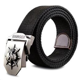 woven belts 2019 - Fashion Men 'S Canvas Belt Skull Metal Tactics Woven Belt Canvas Belt Casual Pants Cool Wild Gift For Men Belts Sku