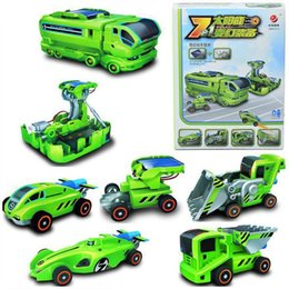 7 in 1 rechargeable innovative diy solar robot transforming car station kit educational toys for kids children baby