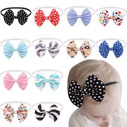 Bandeau Élastique Fleur Diy Pas Cher-Bébés filles Bow Fleur Accessoires cheveux Infant Polka Dot Stripe Big Bows Bandeaux Princesse Elastic Hairband main DIY Coiffe Childrens