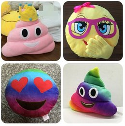 plush crown pillow 2019 - 35cm emoji plush toys Pillow Cushion cartoon 14 inches Poop Stuffed Animals Pillows dolls crown pink rainbow color 12 pc