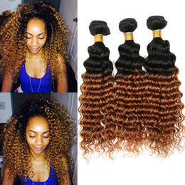 $enCountryForm.capitalKeyWord NZ - Cheap Orice Honey Blonde Hair Bundles Deep Curly Hair Weaves 3Pcs Lot #1B 30 Two Tone Hair Extensions For Young Girl