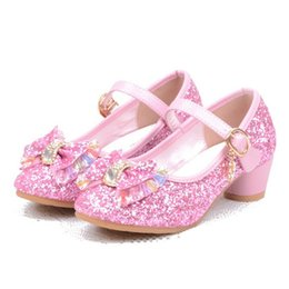 ankle strap sandals pu leather UK - Girls Sandals Kids Crystal Shoes Dream High Heels Students Dance Party Sequins Shoes Children Leather Fashion Bow Pink Princess