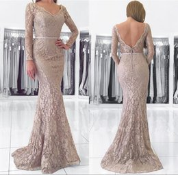 Discount cheap pink long sleeve mermaid gown - Lace Mermaid Prom Dresses 2018 Deep V Neck Long Sleeve Backless Button Party Formal Evening Gowns Cheap African Fashion