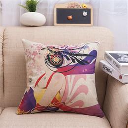 "$enCountryForm.capitalKeyWord Canada - Decorative Cotton Linen Square Throw Pillow Case Cushion Cover Throw Pillow Shell Pillowcase Retro Beautiful Girl 18"" X 18"""