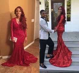 Barato Vestido Preto Sexy Bling-2k16 Burgundy Sexy Bling Red Sequines Mermaid Prom Dresses Africano Black Girl Manga comprida V Neck Prom Vestidos Dubai Fiesta Evening Gowns