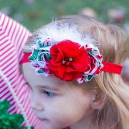 Christmas Children Hair Accessories Kids Flower Bands Feather Headband Baby Girls Headbands Childrens