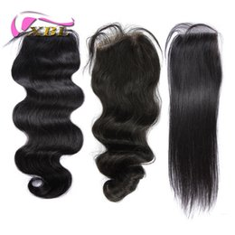 Chinese  Top Lace Closure (4*4) Brazilian Peruvian Indian Human Hair Closure Body Wave Natural Color Hair Extensions Hair Pieces XBL Hair manufacturers