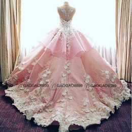 Wholesale 2019 New Luxury D Floral Cathedral Train Garden Wedding Dresses Pink Baby Blue Sheer Neck Peplum Handmade Flower Arabic Wedding Gowns