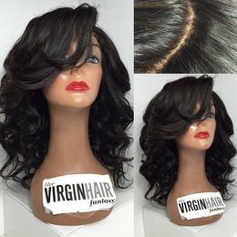human hair lace wig side bangs 2019 - Unprocessed Peruvian Hair Wigs Loose Wave Glueless 150 Density Human Hair Full Lace Wig With Side Bangs Lace Wig With Ba