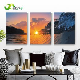 ocean waves canvas oil painting UK - 3 Panel Seascape Oil Canvas Painting Sunset Sea Wave Ocean Wall Art Picture For Living Room Modern Printing Unframed PR1290