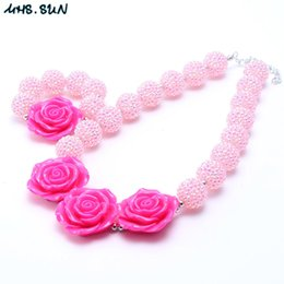 $enCountryForm.capitalKeyWord NZ - MHS.SUN Baby Pink Color Chunky Necklace&Bracelet Set Fashion Bow Beads Children Girl Bubblegum Chunky Bead Necklace Jewelry Set