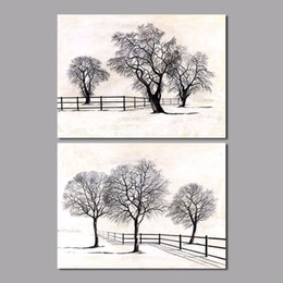 $enCountryForm.capitalKeyWord Canada - Big size black and white still trees decoration wall art picture Landscape Canvas Painting for living room Home decor unframed