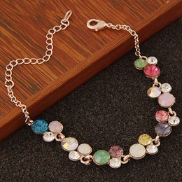 Gold Jewelry Ends Canada - High End Refinement Korean Fashion Fine Jewelry Accessories Rose Czech Drilling Rainbow Bubble Gold Warp Charm Chain Bracelets For Women