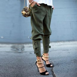 Barato Calças De Carga Verde Mulheres-Preself New Fall Arrival Women's Fashion Design Loose Trousers Calças Korea Style Army Green Único Fettered Leg Harem Pants
