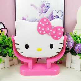 Decorative Makeup Canada - Wholesale- Kitty Cosmetic Makeup Mirror KT Dresser Round Vanity Mirror Rotate 360 Degrees The Three-dimensional Cartoon Characters