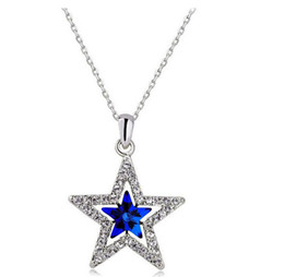 silver star pendant necklace NZ - Fashion Five Star Pendant Necklaces Silver Plated Alloy Necklace Jewelry For Women Ruler Best Necklace Gift B039
