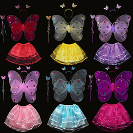 455cm39cm led angel butterfly wings halloween costume childrens performance clothing three piece girl dress up props - Halloween Led Costume